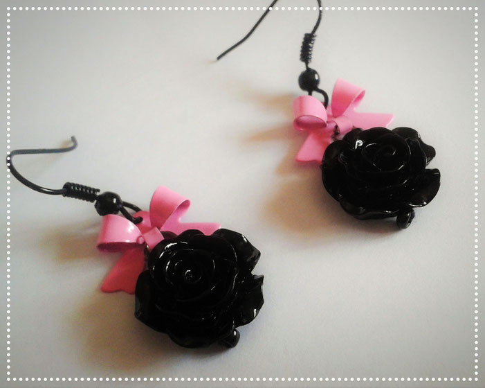 Black Rose earring with Pink Bows