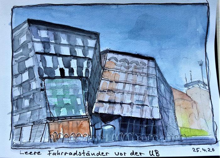 Freiburger Coronaimpressionn /Zeichnung Hannelore Bastian