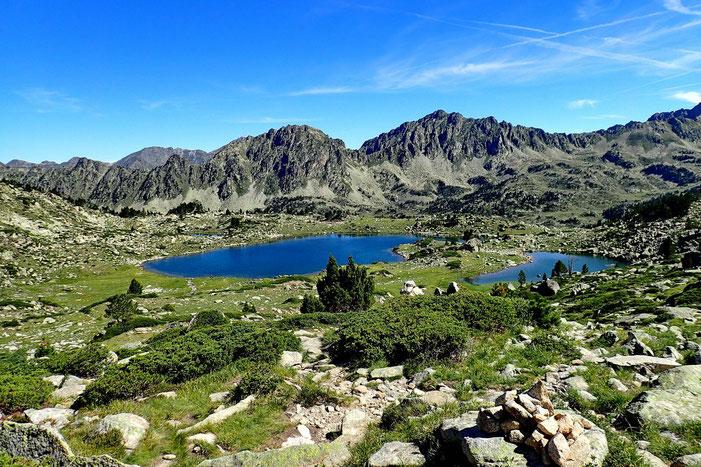 Arrivée aux lacs de Madamète (2305m).