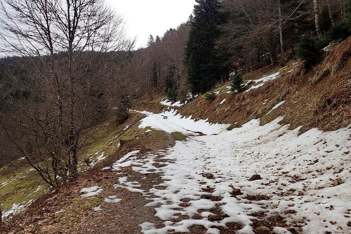 Sur le flanc nord-ouest, la neige est encore là (~1260 m).