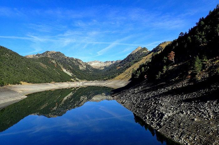 En raison des travaux, le Lac de l'Oule est à l'étiage.