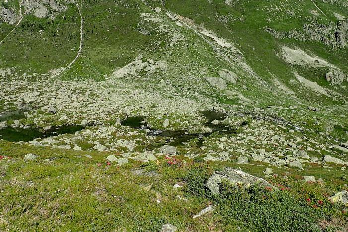 J'ai attaqué la montée très raide vers les lacs de Houns de Hèche. En bas, les lacs de Liantran.