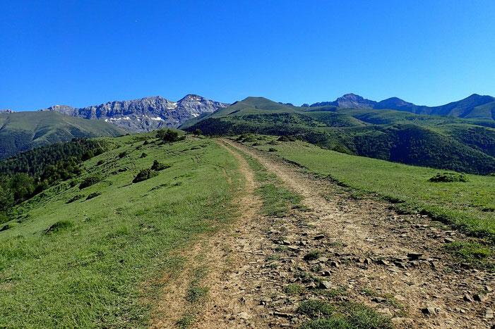 Une piste suit la crête. Au fond, la Sierra de Tendeñera. Et au premier plan, le Pico de Toronzué.