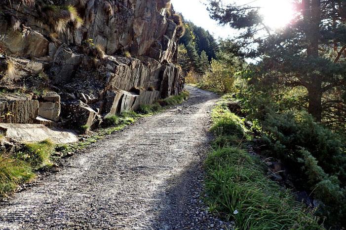Pour aller jusqu'au Lac de l'Oule, le chemin est assez large... Il permet aux véhicules autorisés d'accéder au barrage.