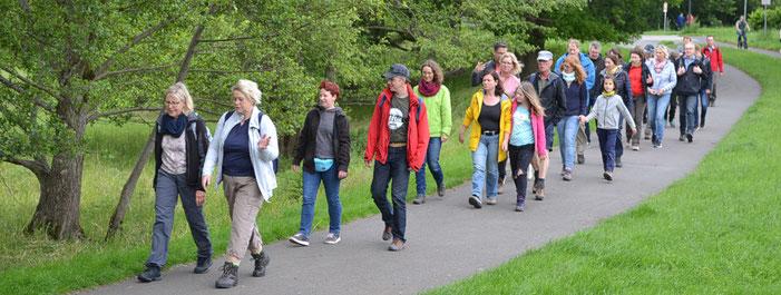 32 Wanderer unterwegs auf dem Pilgerweg