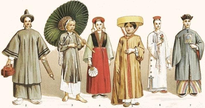Costumes divers. — Auguste Racinet (1825-1893) : Le costume historique. Chine. — Firmin-Didot, Paris, 1888.