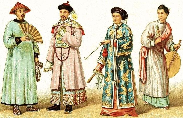 Costumes et insignes des mandarins. Dames chinoises. — Auguste Racinet (1825-1893) : Le costume historique. Chine. — Firmin-Didot, Paris, 1888.