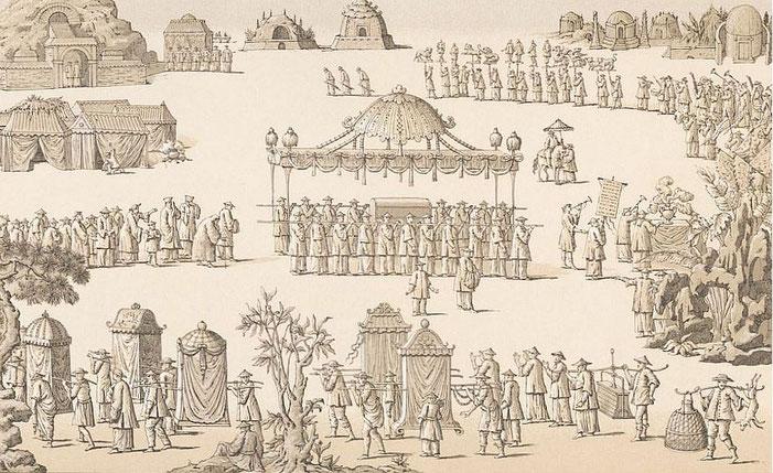 Le cortège des obsèques d'un riche Chinois. — Auguste Racinet (1825-1893) : Le costume historique. Chine. — Firmin-Didot, Paris, 1888.