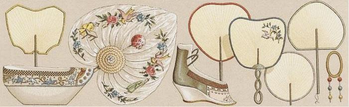 Chaussures ; éventails ; pendant d'oreille. — Auguste Racinet (1825-1893) : Le costume historique. Chine. — Firmin-Didot, Paris, 1888.