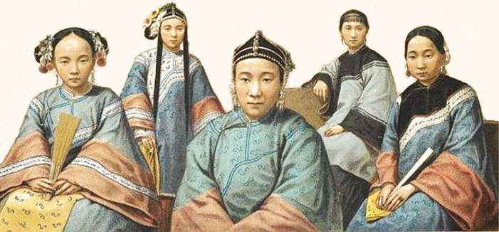 n° 13 à 17. Types divers. — Auguste Racinet (1825-1893) : Le costume historique. Chine. — Firmin-Didot, Paris, 1888.