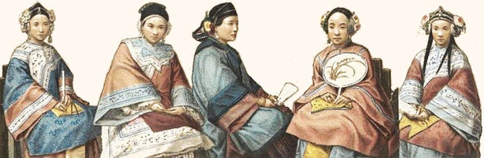 n° 8 à 12. Types divers.— Auguste Racinet (1825-1893) : Le costume historique. Chine. — Firmin-Didot, Paris, 1888.