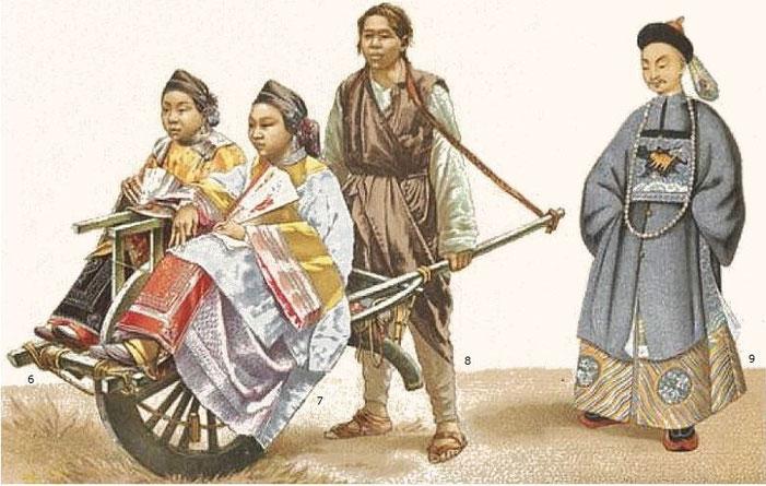 L'omnibus.2. — Auguste Racinet (1825-1893) : Le costume historique. Chine. — Firmin-Didot, Paris, 1888.
