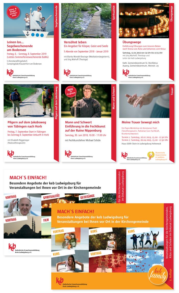 Flyer, Plakate, Leitsystem für die Katholische Erwachsenenbildung Ludwigsburg