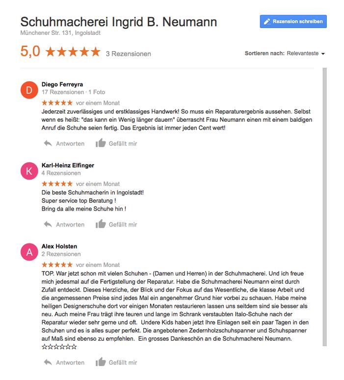 Rezensionen der Schuhmacherei Ingrid B. Neumann bei Google