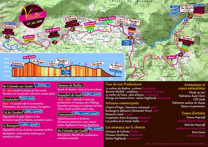 plan programme Tour des Villages - Pyrénées Audoises