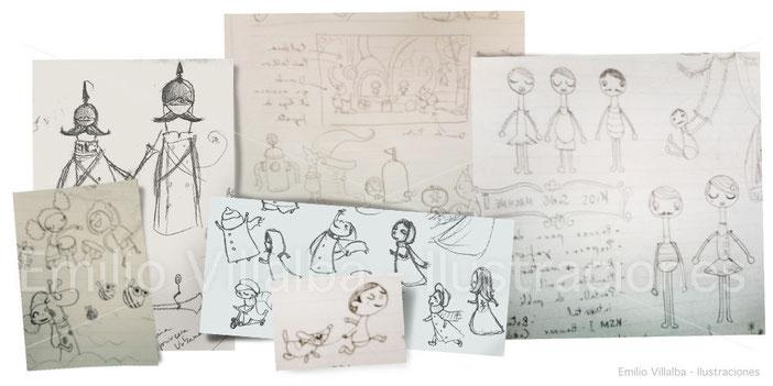 bocetos de Emilio Villalba