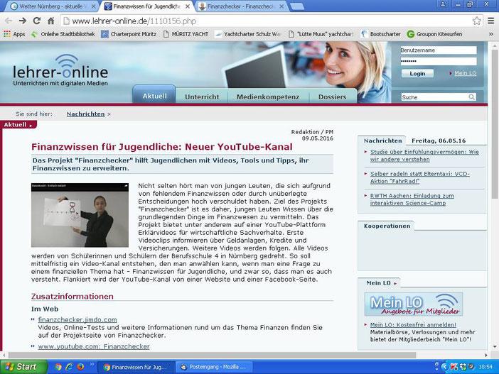 """Hinweis auf unser Webangebot bei """"Lehrer-Online"""", der größten Infoplattform für Lehrer in Deutschland (Screenshot vom 06.05.2016)"""