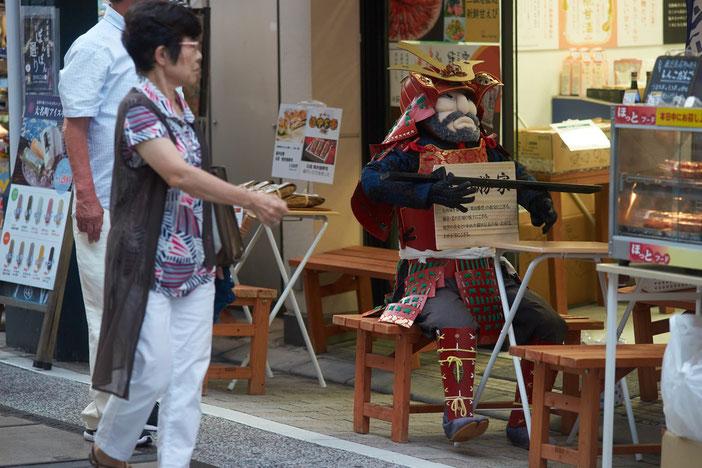 商店街の店舗の前、買い物をする年配の女性