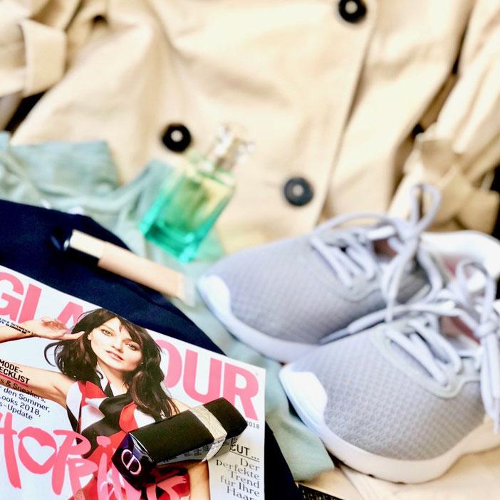 Glamour Shopping Week, Nike Sneaker, Dior Lipstick, Trenchcoat Esprit, Un jardin sur le nil