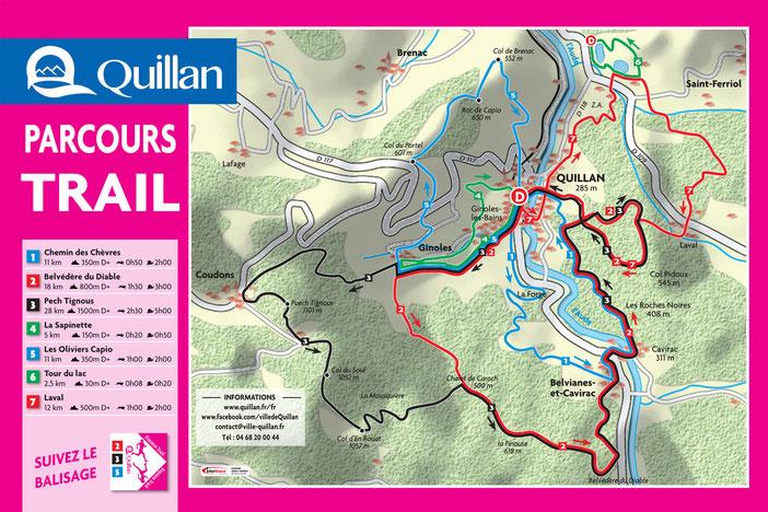 Parcours permanents de trail à Quillan