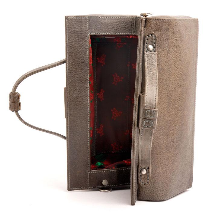 Nostalgie Henkeltasche Vintage-Look  aus Leder  versandkostenfrei kaufen. Farbe grau . OWA Tracht