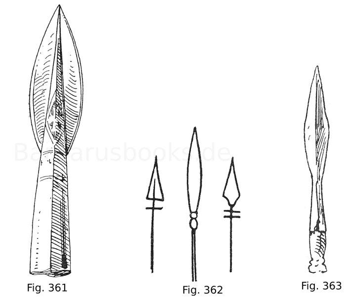Fig. 361. Spießeisen mit Gold und Silber eingelegt darauf das Zeichen des Kreuzes. Grabfund bei Ulm. Nach Beck, Geschichte des Eisens.