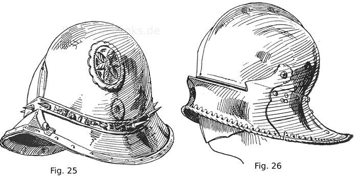 Italienische, sogenannte lucchesische Schallern mit getriebenen und vergoldeten Verzierungen. Fig. 26. Deutsche Schallern mit aufschlächtigem Visier von einem Harnisch des Erzherzogs Sigmund von Tirol.