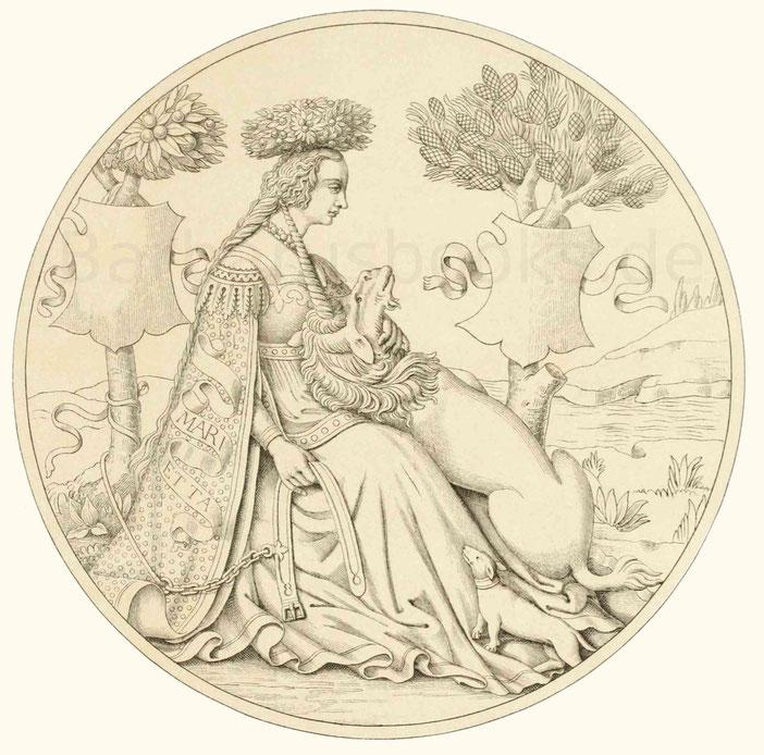 Italienische Frauentracht aus dem 15. Jahrhundert.