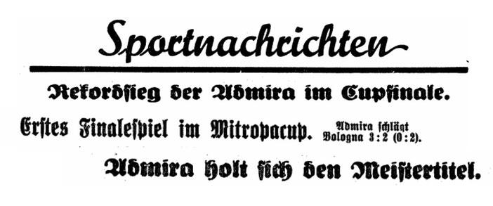 Admira machte in der Zwischenkriegszeit Schlagzeilen mit ihren sportlichen Höhenflügen und Erfolgen