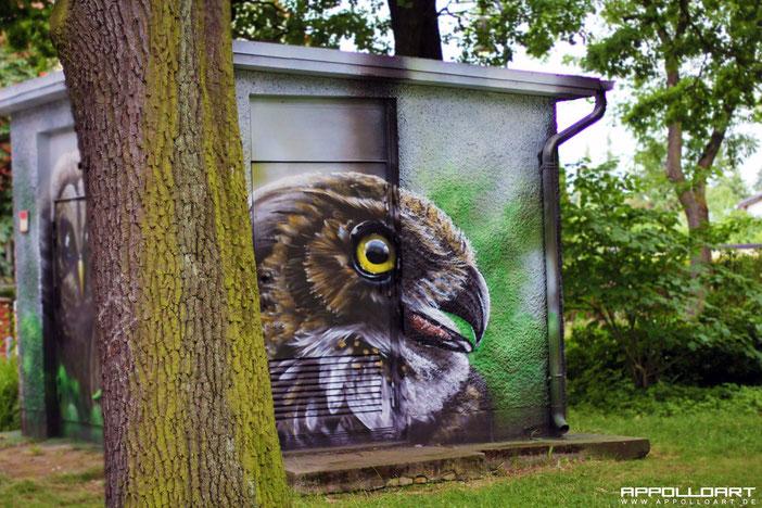 Graffiti Fassadenkunst mit Fassadenbild vom Graffitikünstler gemalt in Berlin Brandenburg