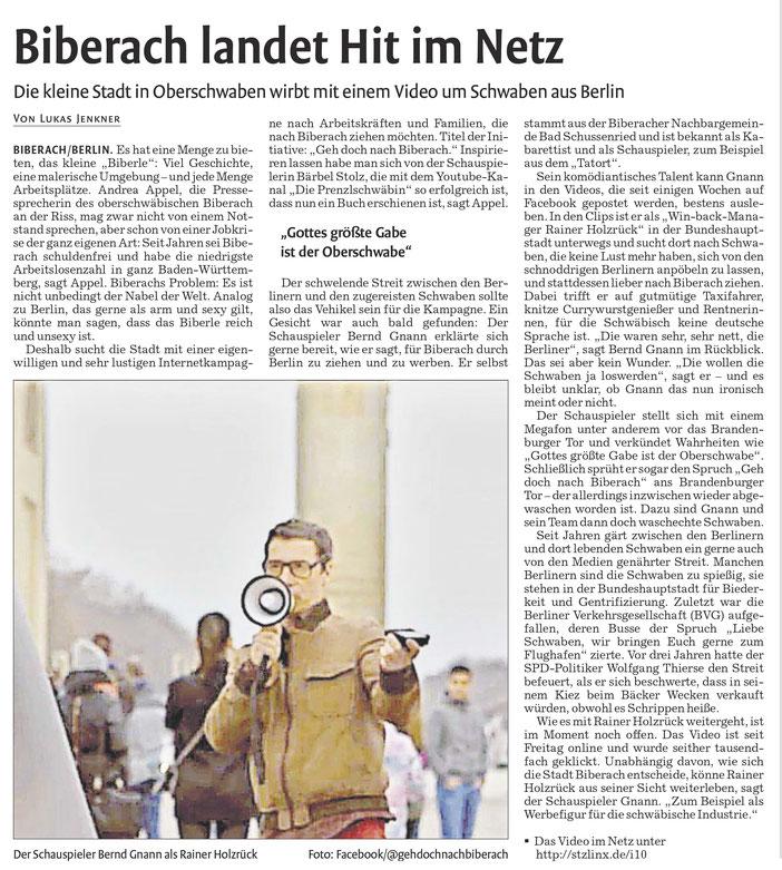 Zeitungsartikel vom 20.01.17, Waiblinger Kreiszeitung
