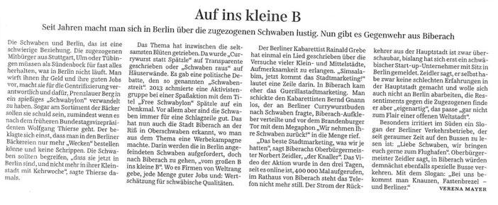 Zeitungsartikel vom 19.01.17, Süddeutsche Zeitung