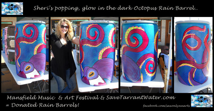 SaxonLynn Arts painted rain barrel Tarrant water
