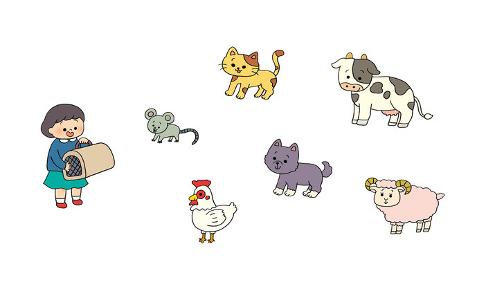 英語教材『ポピペンBOOK』の挿絵、女の子とお動物たち