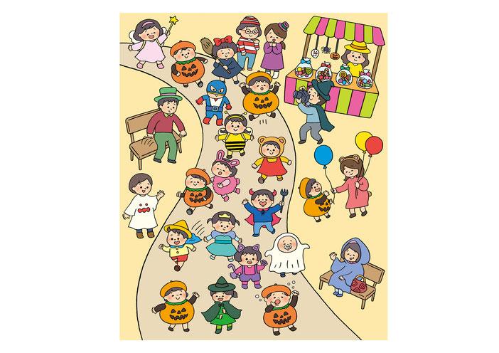 英語教材『ポピペンBOOK』の挿絵、ハロウィンパレード中の子どもたち