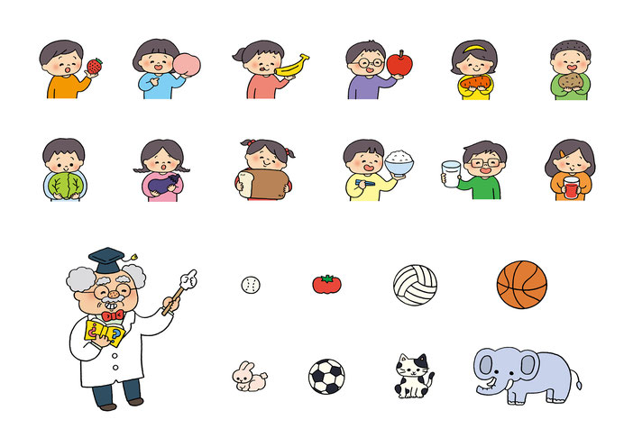 英語教材『ポピペンBOOK』の挿絵、果物や野菜と子どもたち、ハテナ博士のクイズ