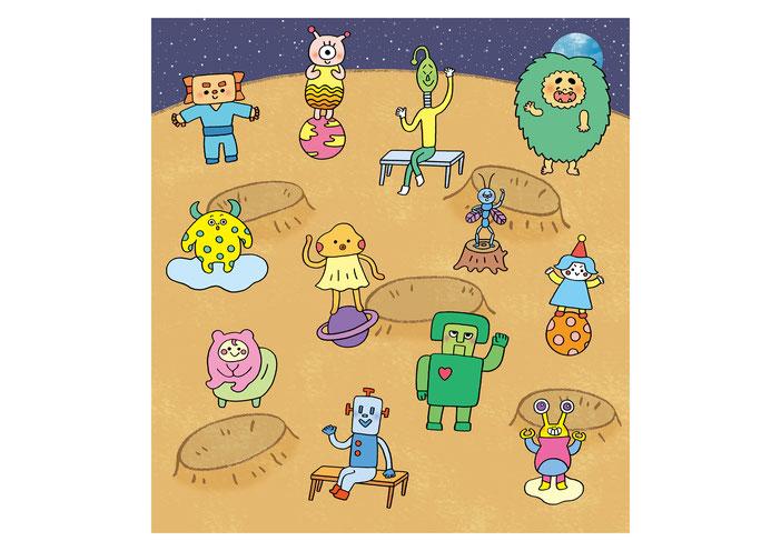 英語教材『ポピペンBOOK』の挿絵、いろいろな宇宙人たち