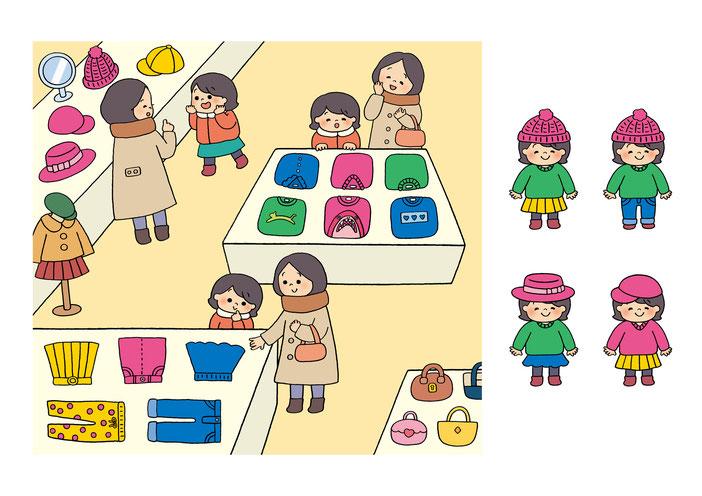英語教材『ポピペンBOOK』の挿絵、女の子とお母さんが洋服屋さんでお買い物