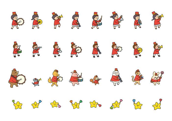 英語教材『ポピペンBOOK』の挿絵、子どもと人形と動物と星の鼓笛隊