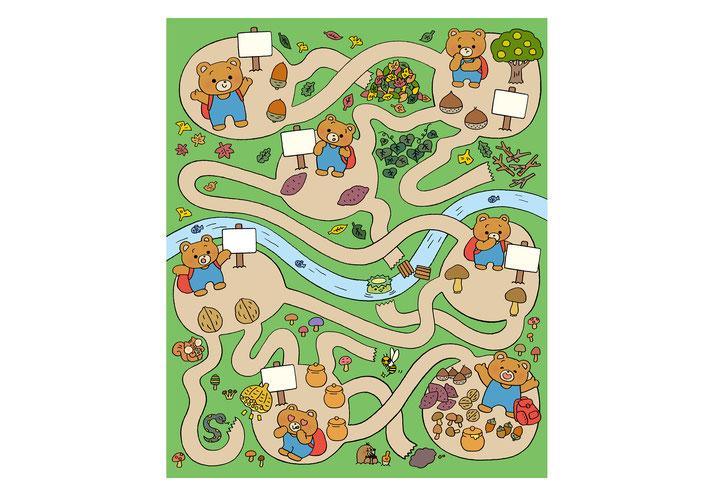 英語教材『ポピペンBOOK』の挿絵、熊の子の森めいろ