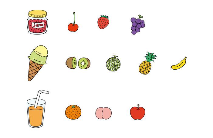 英語教材『ポピペンBOOK』の挿絵、ジャムとアイスとジュースとフルーツ