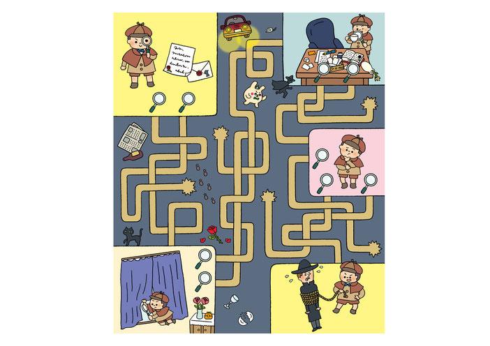 英語教材『ポピペンBOOK』の挿絵、探偵ボーイの事件解決めいろ