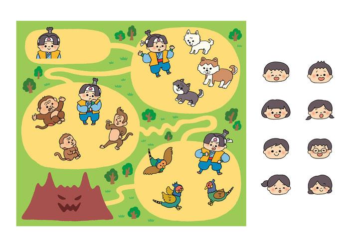 英語教材『ポピペンBOOK』の挿絵、桃太郎とお供の動物たちめいろ
