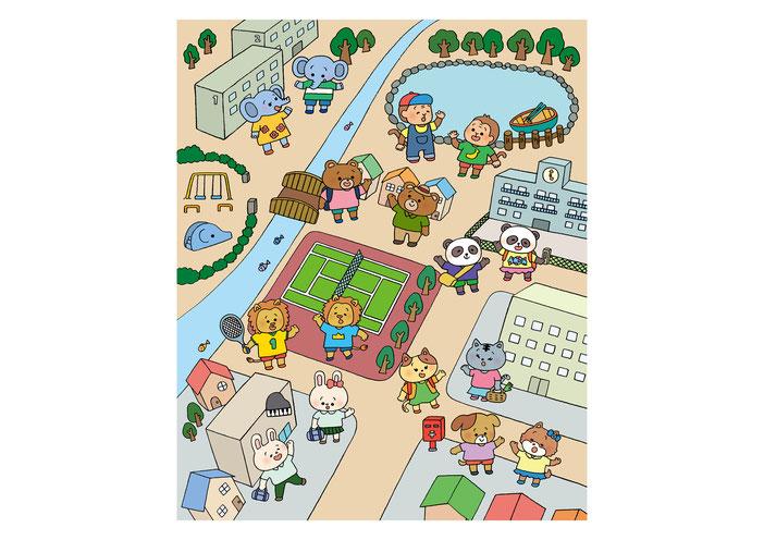 英語教材『ポピペンBOOK』の挿絵、街中であいさつをする動物の子どもたち