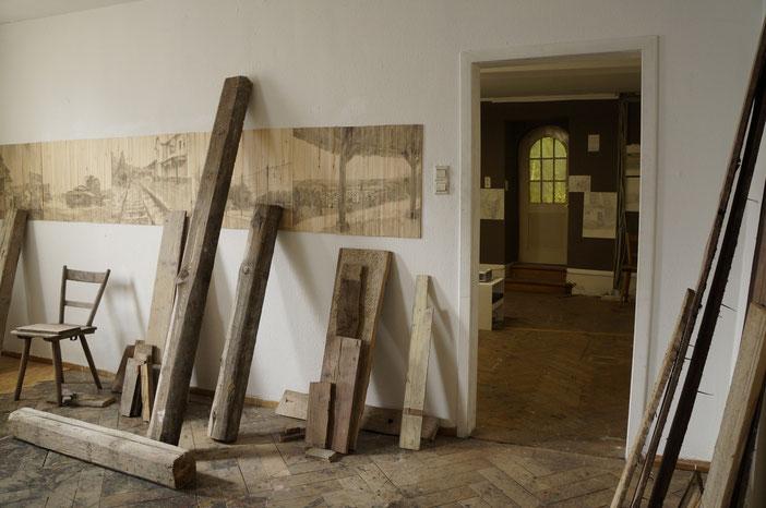 Gesammelte Balken aus dem Schloss Gaildorf 가일도르프성의 역사적 나무콜렉션