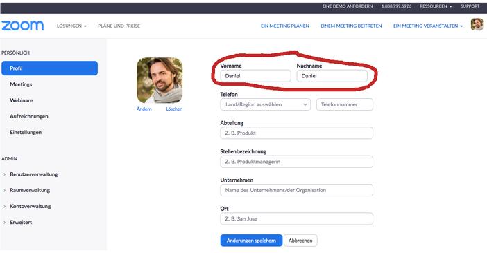 Abbildung 2: Änderung des Anzeigenamens Zoom Account (Desktop Version)