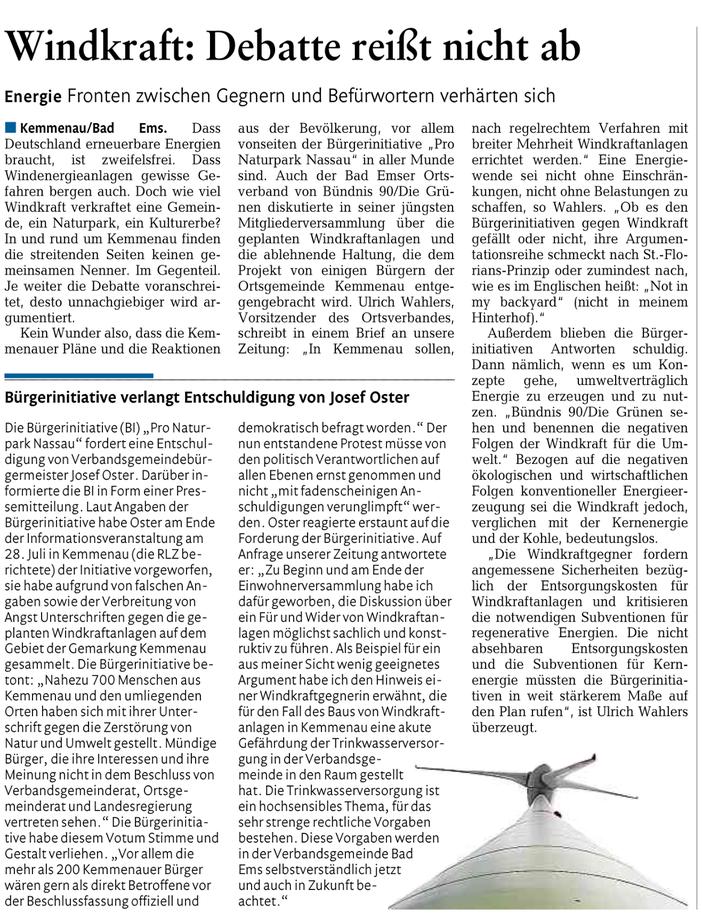 Rhein-Lahn-Zeitung v. 08.08.2015