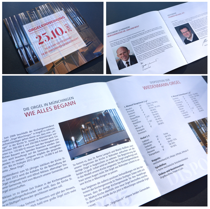 Katholische Kirche Münchingen - Broschüre anläßlich der Einweihung der neuen Orgel