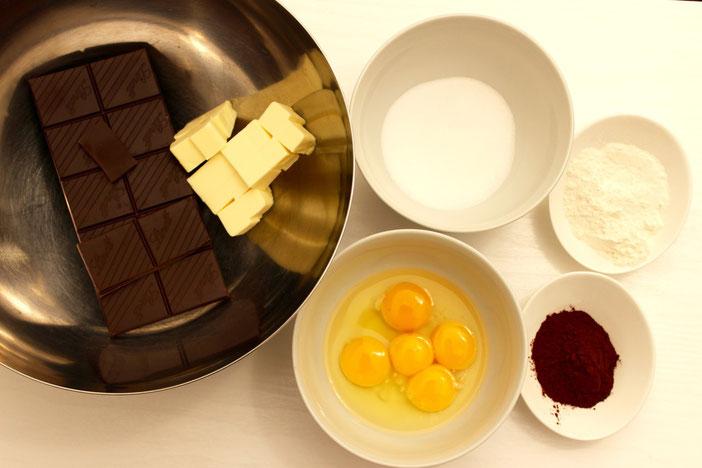Zutaten Schokoladenkuchen mit flüssigem Kern