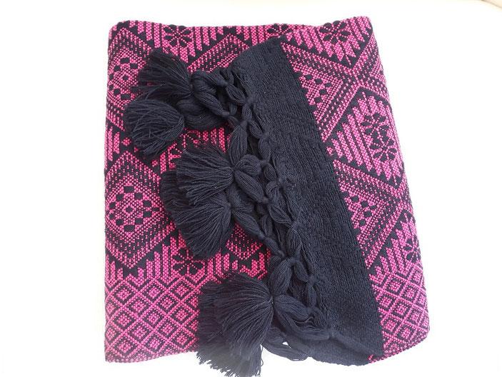 Winterschal,  Schal pink, Schal aus Mexiko, Poncho, Tuch, Bettüberwurf, Sofaüberwurf, Decke, Winterdecke, Sofadecke, Fernsehdecke, Picknickdecke
